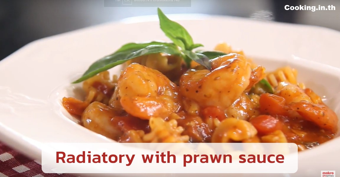 Radiatory with prawn sauce