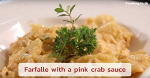 Farfalle with a pink crab sauce