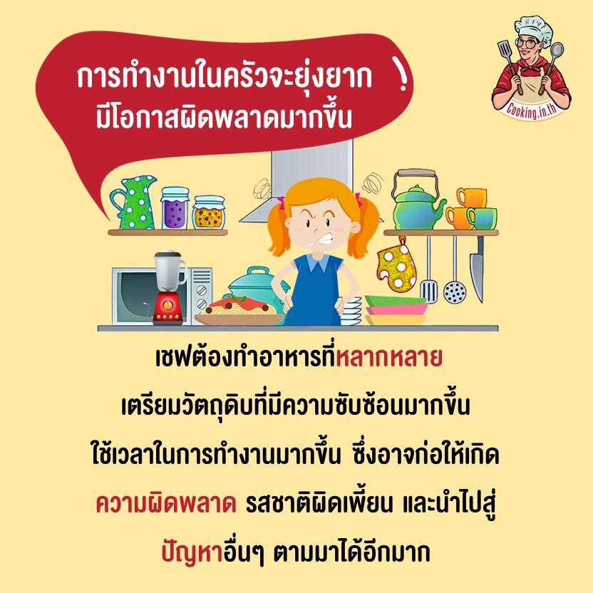 การทำงานในครัวจะยุ่งยาก มีโอกาสผิดพลาดมากขึ้น