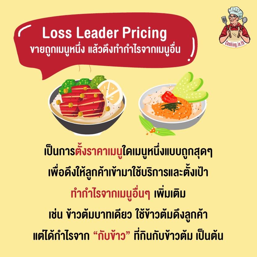Loss Leader Pricingขายถูกเมนูหนึ่ง แล้วดึงทำกำไรจากเมนูอื่น